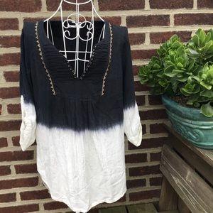 Anthropologie dip dye tunic blouse